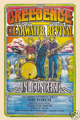 Rock: Creedence Clearwater Revival at The Forum L.A. Concert Poster Circa 1970