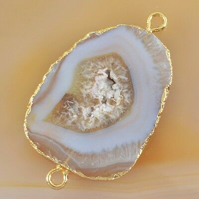 Natural Agate Druzy Geode Connector Gold Plated B027880