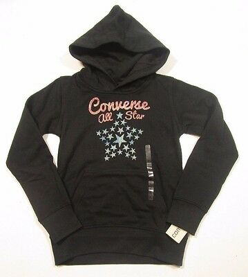 Converse All Star Girls Pull Over Black Graphic Hoodie