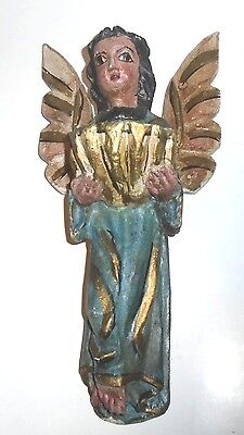 Mexican Hand Painted Carved Wooden Folk Art Angel with Font