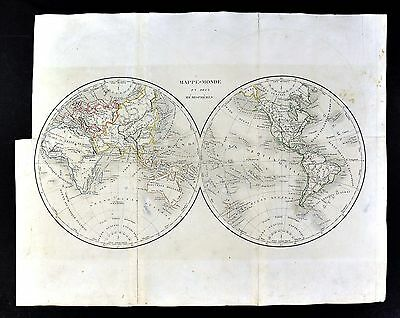 c. 1849 Archer Map - World in Hemispheres North South America Asia Europe Africa
