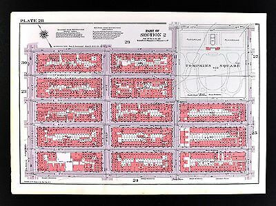 1955 Bromley New York City Map Tompkins Square East Village Manhattan 4-14th Str