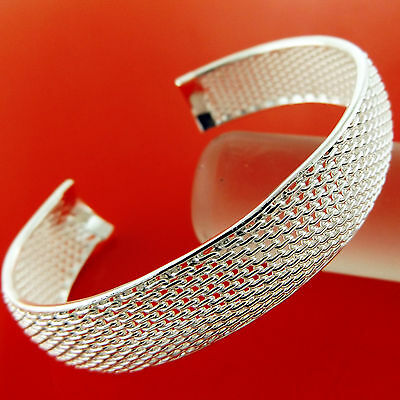 A854 Genuine Real 925 Sterling Silver S/f Solid Design Cuff Bangle Bracelet