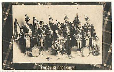 Old Postcard The Sutcliffe Family, Bagpipes, Drums , Real Photograph C. 1910?