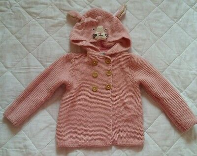 Baby Boden girls pink knitted hooded jacket. 2-3. 2 Available. Twins.