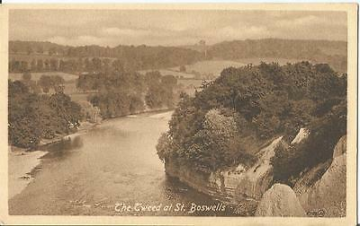 The Tweed at St Boswells Sepia Postcard Valentine's Series