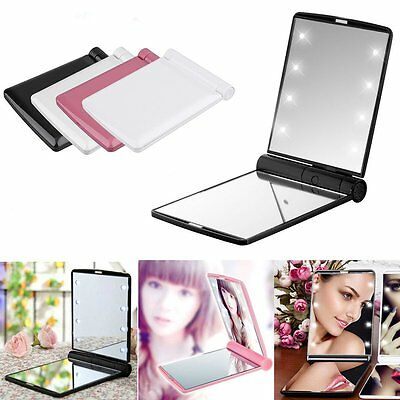 Portable Mini Makeup Cosmetic Folding Compact Pocket Mirror with 8 LED Lights