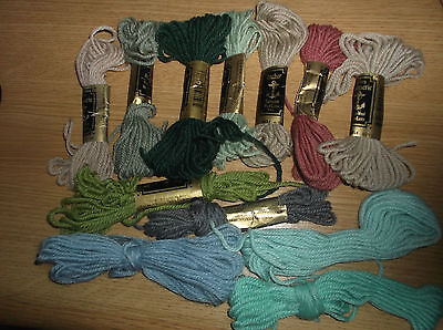 New - 7 Skeins Anchor Assorted Tapisserie / Tapestry Pure Wool + 5 Part Used