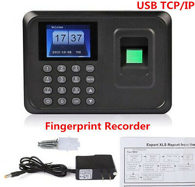 USB TCP IP ID Fingerprint Recorder Work Time Clock Employee Attendence Payroll