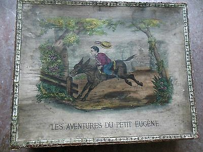 Antique 1820s French Doll Toy Gift Box Trunk Hand Colored Child Horse Landscape
