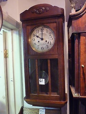 Original Antique Oak 8 Day Striking Wall Clock Good Working Order With Key