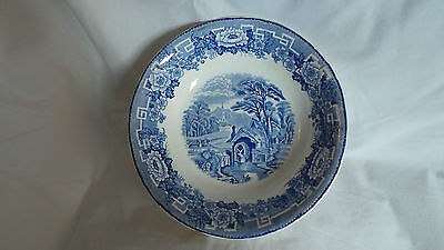 Large Antique Blue & White bowl - country scene