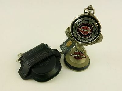Harley Davidson Franklin Mint pocket watch with stand and case