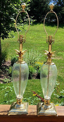Pair of Vintage Hollywood Regency Brass & Glass Pineapple Lamps Chapman Style