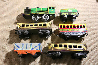Vintage Hornby BRIMTOY TRAIN Clockwork Loco Carts Carriages