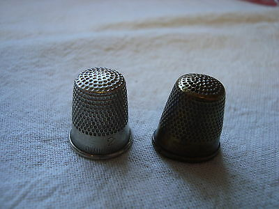 2 Vintage Thimbles - Metal and Brass