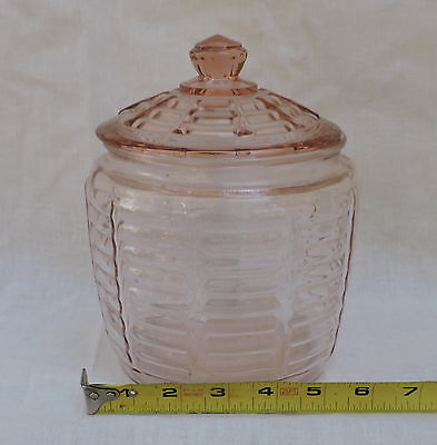 Anchor Hocking Pink Depression Glass Paneled Ribbed Cookie Biscuit Jar with Lid