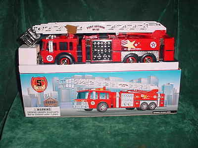 Red Aerial Tower Christmas Xmas   Holiday Firetruck Like Hess  Mib  With Inserts