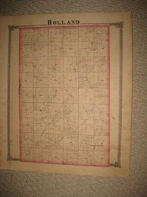 Antique 1875 Holland Rose Township Shelbyville Shelby County Illinois Map Rare