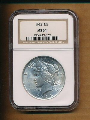 1923 $1 Silver Peace Dollar Coin - NGC MS 64 FREE SHIPPING