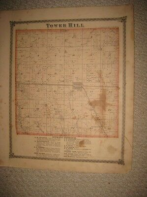 Antique 1875 Tower Hill Township Shelbyville Shelby County Illinois Handcolr Map