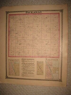 Antique 1875 Pickaway Township Cowden City Lakewood Shelby County Illinois Map N