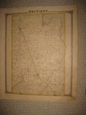 Antique Dry Point Township Cowden City Shelbyville Shelby County Illinois Map Nr