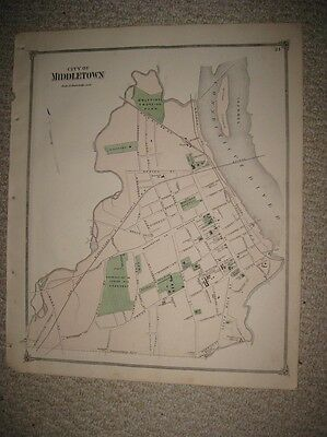 Antique 1874 Middletown Wesleyan University Middlesex County Connecticut Map Nr
