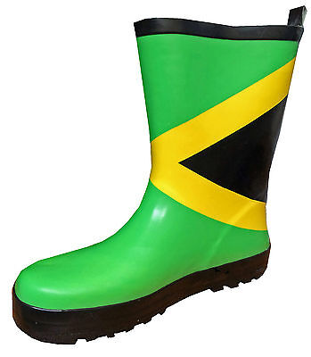 KIDS / CHILDRENS Wellies - JAMAICA FLAG Design WELLINGTON BOOTS - UK Infant 8