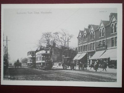 Postcard Trams Of Manchester - Rusholme Tram Stage (1908) Open Top Tram With A B