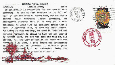 1993 Tombstone Arizona Cancels on Postmaster-signed Cover w Local History Cachet