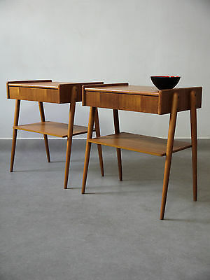 1970s VINTAGE ORIGINAL PAIR OF TEAK BEDSIDE TABLES BY AB CARLSTROM MADE DENMARK