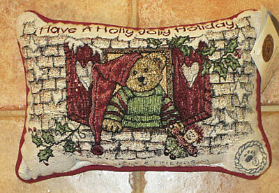 Boyds Bears Elfbeary Workshop Christmas Tapestry Word Pillow