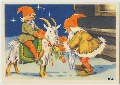 God Jul - Merry Christmas - Elves and Goat