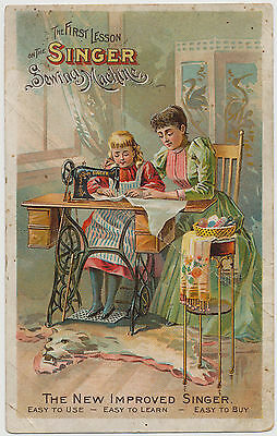 "Singer Sewing Macine ""The First Lesson"" - Victorian Trade Card 1893"