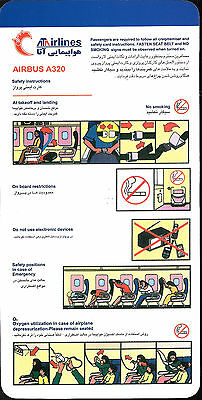 1 x ATA AIRLINES A320 SAFETY CARD