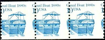 #2257 10c Canal Boat with dramatic MISPERF strip of 3