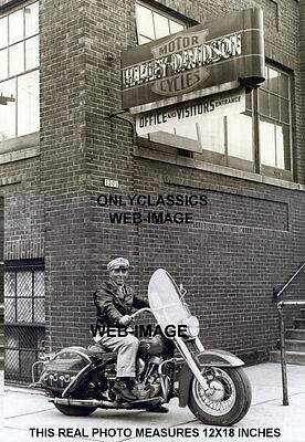 1950 Harley Davidson Motorcycle 12X18 Real Photo Great Old Sign Rider Leathers
