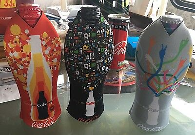 Set Of 3 Coca Cola Bottle Sleeves Covers. Keep Drinks Cold. Diet, Zero, Coke