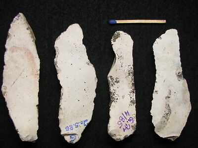 50.000Y.o: 4 Flake Tools Neanderthal Man Flint Stone Age Paleolithic Mousterian