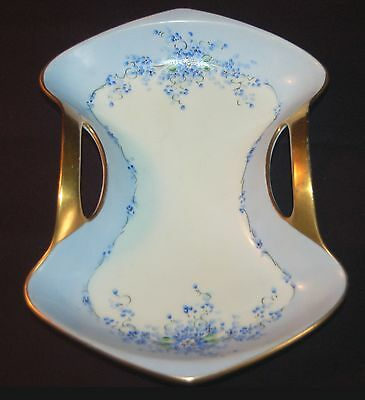 Beautiful Antique Stouffer Handled Plate - Handpainted With Blue Flowers