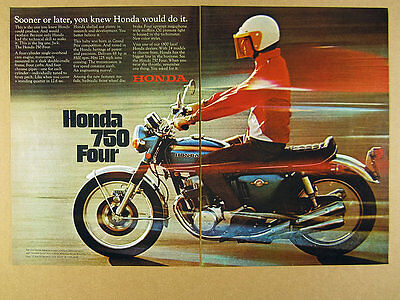 1969 Honda 750 FOUR Motorcycle color photo vintage print Ad
