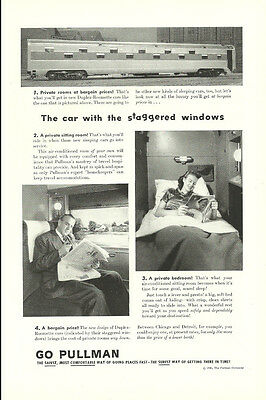 1945 vintage Ad, Pullam Sleeper car with staggered windows- 011014