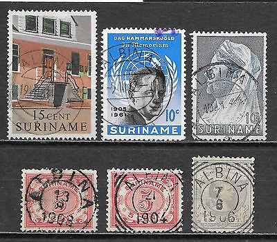 Surinam stamps Collection of 6 stamps  cancel ALBINA  Attractive!