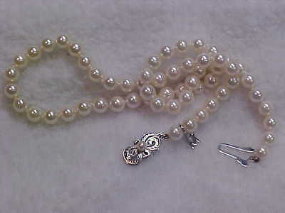 """Mikimoto Pearl Necklace 16 1/2"""" 6.50 x 6.25mm 18k White gold grade A+ with Charm"""