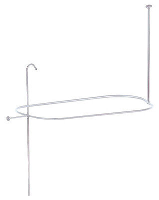 "57"" x 31"" Rectangle Oval Shower Rod Ring Riser with Enclosure Chrome Finish"