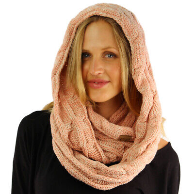 CC 2Tone Soft Chunky Warm Pullover Knit Long Loop Infinity Hood Cowl Scarf
