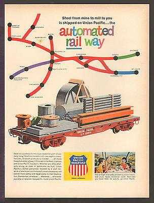 Union Pacific Railroad OCT 1963 STEEL FROM MINE TO MILL Original Print Ad