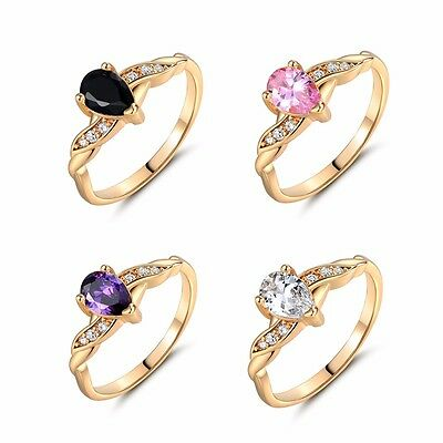 18k gold filled Pear cut purple Topaz Solitaire with Accents lady rings Sz5-Sz9