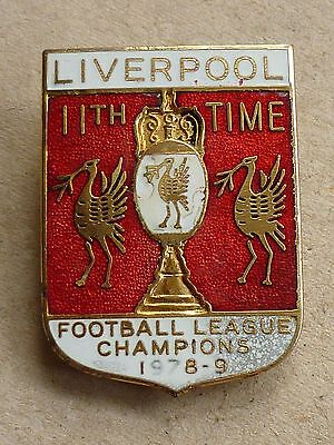 VINTAGE LIVERPOOL FOOTBALL BADGE  11th TIME LEAGUE CHAMPIONS 1978 - 9 BY COFFER